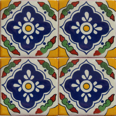 Guadalajara Talavera Mexican Tile Close-Up