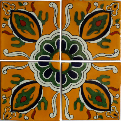 Colima Talavera Mexican Tile Close-Up