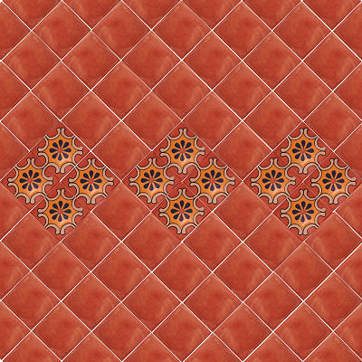 Glazed Terracotta Mexican Clay Tile Close-Up