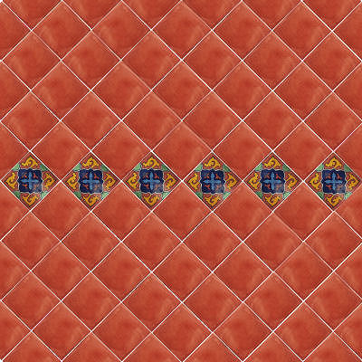 Glazed Terracotta Mexican Clay Tile Details