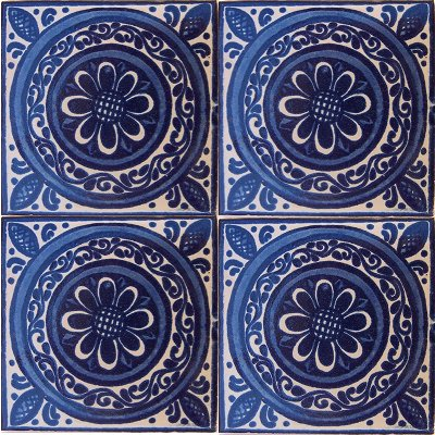 Blue Target Talavera Mexican Tile Close-Up