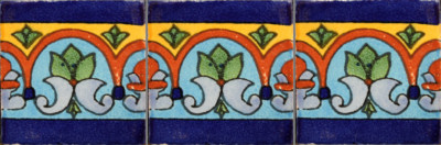 Aqua Border Talavera Mexican Tile Close-Up