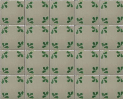 Green Splash Talavera Mexican Tile Close-Up