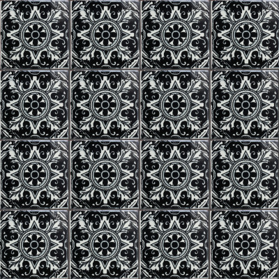 Black Romalio Talavera Mexican Tile Close Up