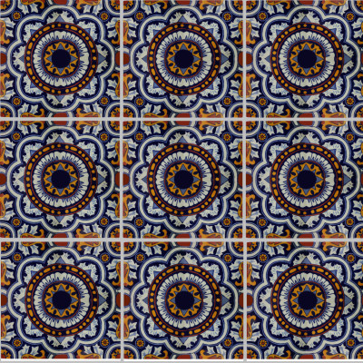 Full Moroccan Talavera Mexican Tile Close-Up
