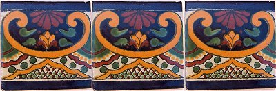 Greca C Talavera Mexican Tile Close-Up