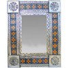 Small Silver Marigold Tile Talavera Tin Mirror