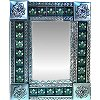 Small Silver 3-Lily Tile Talavera Tin Mirror