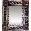 Small Brown Three-lily Tile Talavera Tin Mirror