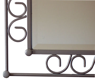 Hoop Beveled II Wrought Iron Mirror Close-Up