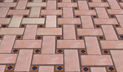 Rectangular Floor Tile With Decorative Mexican Tile Inserts